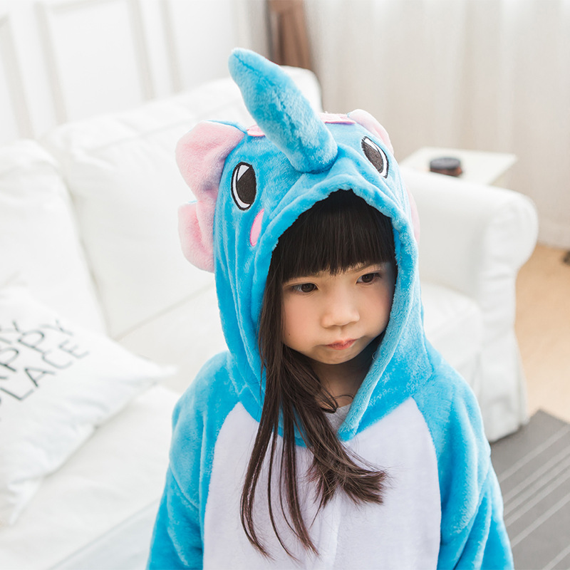 Blue Elephant Pajamas Children Kids Boys Girls Pajamas Animal Pajamas Chrismas Flannel Pajamas Winter Cartoon Animal Onesies