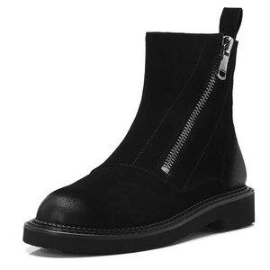 Image 2 - FEDONAS inek süet yarım çizmeler kalın topuklu sonbahar kış kısa bayanlar ayakkabı kadın en kaliteli motosiklet botları bayanlar temel botları