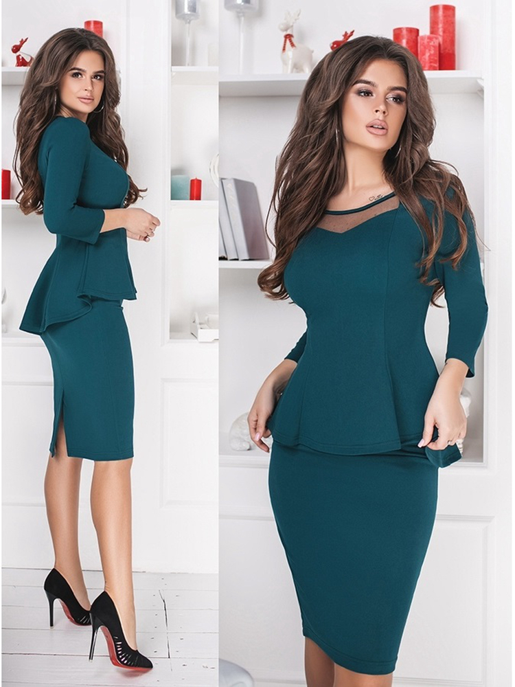 Women Sets 2019 New Arrival Sexy Sheath O Neck Mesh Patchwork Above Knee Mini Dress 3 4 Sleeve Casual Blue Black Coat Two Pieces in Women 39 s Sets from Women 39 s Clothing