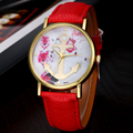 Vogue Women's Leather Floral Printed Anchor Quartz Dress Wrist Watch  new design hot sale 2017 spring Dec16 send in 2 days