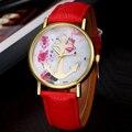 Vogue de Las Mujeres Impreso Floral de Anclaje de Cuero de Cuarzo Vestido Reloj de Pulsera nuevo diseño de la venta caliente 2017 primavera Dec16 enviar en 2 días