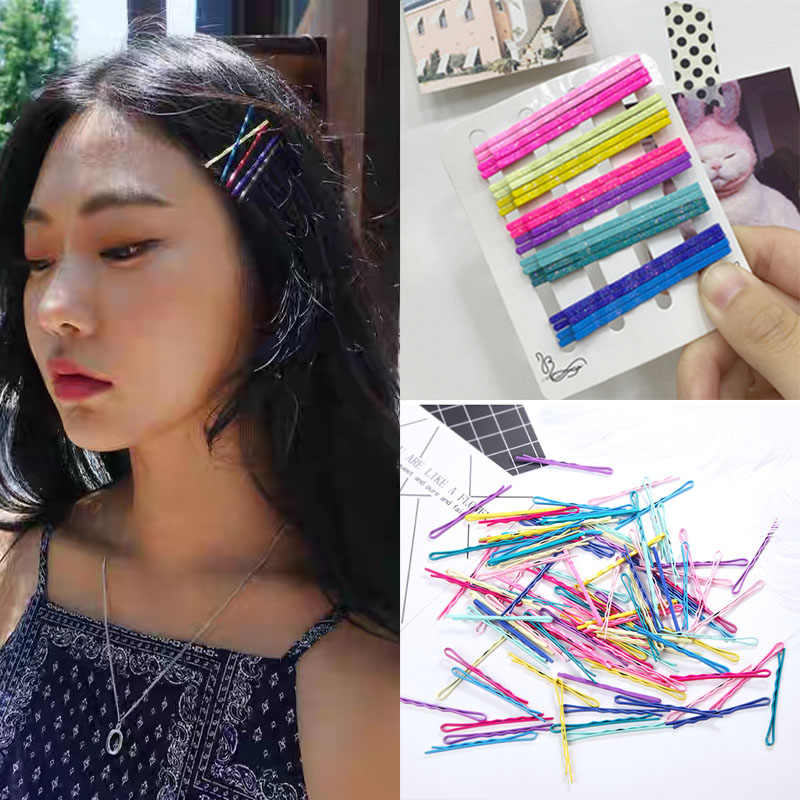 20pcs Ladies Glitter  Colorful Hairpins Girls  Curly Wavy Grips Hairstyle Hairgrips Women Bobby Pins Styling Hair Accessories