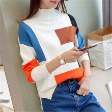 Temperamento color de punto cuello alto suéter mujeres Jersey tricot tops 2018  Otoño e Invierno de Cachemira para mujer Jersey d58428a9671d