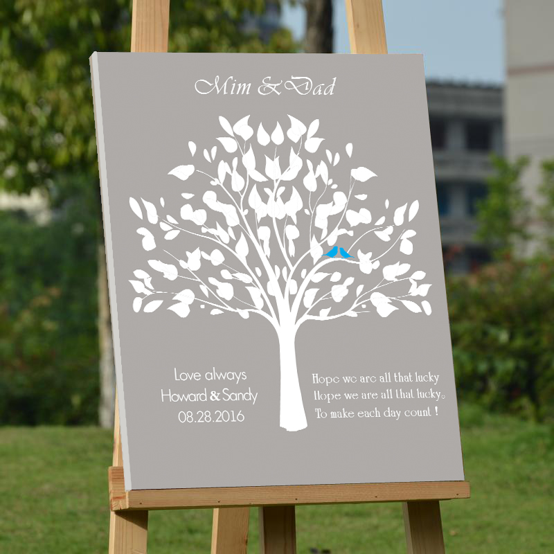 Love Always Wedding Guest Book Custom Canvas Fingerprint Tree Guest Book with Bride Groom Name Letters Sign Book Party Decor