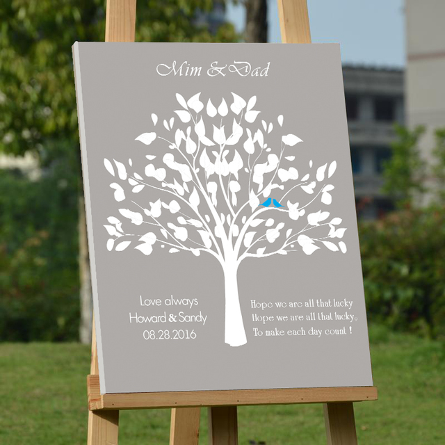 love always wedding guest book custom canvas fingerprint tree guest book with bride groom name letters