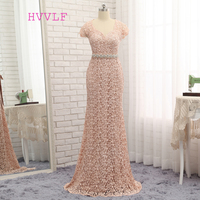 HVVLF Open Back Evening Dresses 2019 Mermaid Cap Sleeves Champagne Lace Beaded Bow Long Evening Gown Prom Dress Prom Gown