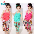 2016 NEW Children clothing set New girls tank top with metallic bowknot+floral print trousers kids girls summer suit set