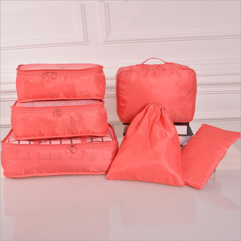 High Quality 6 Pieces Nylon Packing Cube Travel Bag One Set Luggage Storage Portable Dur ...