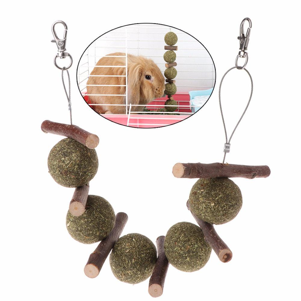 Pet Hamster Teeth Grinding Toys Rabbit Tree Branch Grass Ball Hanging Cage Toy Small Animal Supplies C42