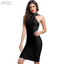 ADYCE New Bandage Dress Women 2018 Celebrity Evening Party Dress Vestidos Sexy Off Shoulder Halter White khaki Black Club Dress