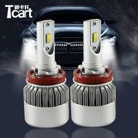 Tcart 1Set Auto Led Headlight Headlamp DIPPED Low Beam Light C6F 6000K White 36W H8 H9