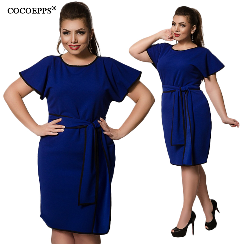 US $13.28 43% OFF|CANCUT 5XL 6XL 2019 Plus Size Women\'s Dresses Summer Big  Sizes Elegant Short Dress Spring Office Party Dress With Belt vestidos-in  ...