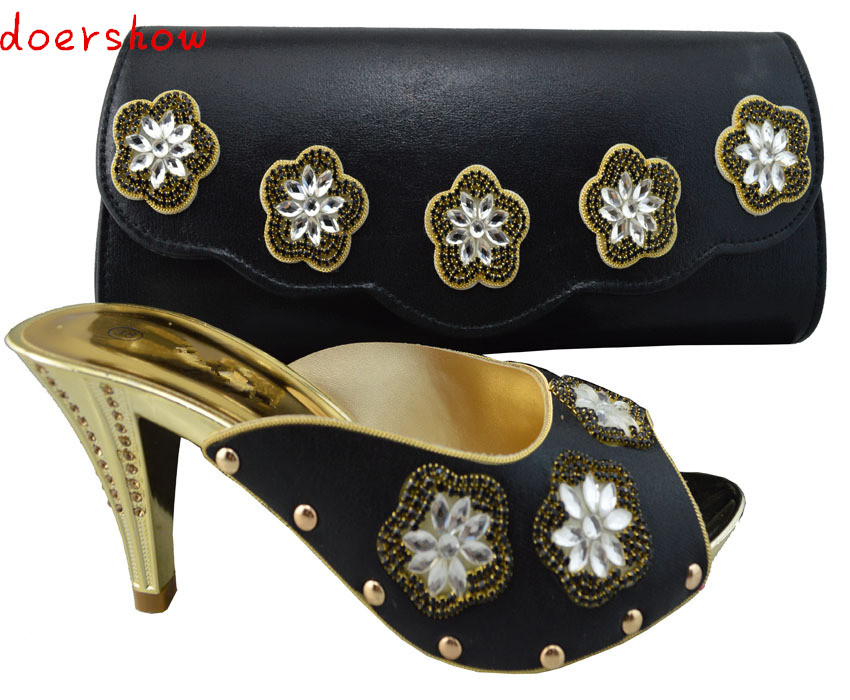 doershow High class shoes and bag set European style shoes perfect match handbag for party black