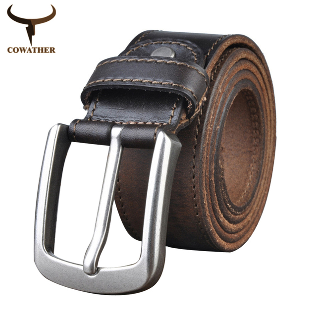 COWATHER 2016 Top Cow genuine leather belts for men alloy buckle vintage Handcrafted mens belts ceinture homme free shipping