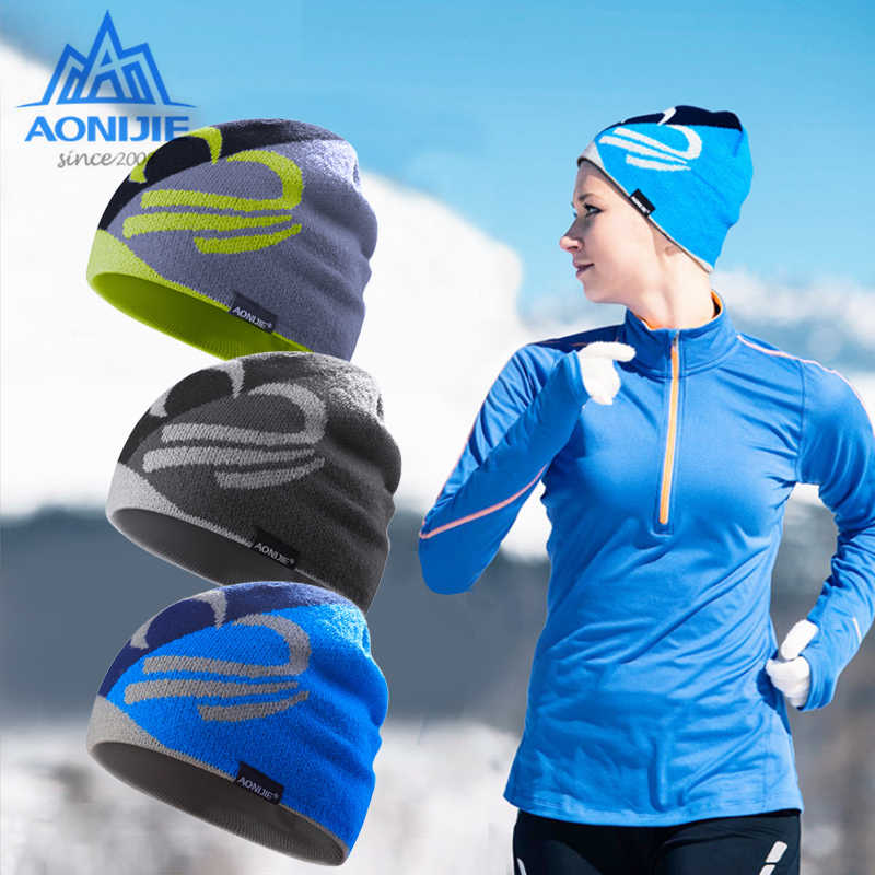AONIJIE Winter Knitted Hats Outdoor Sports Snowboarding Cap Winter Windproof Thick Warm Running Cap Ski Running Caps Hat