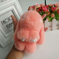 Car Keychain mini Real Fur Keyholder Rex Rabbit Fur Keychain Rabbit Toy Doll  Fur Animal Pendant Keychains keychain Bag charm