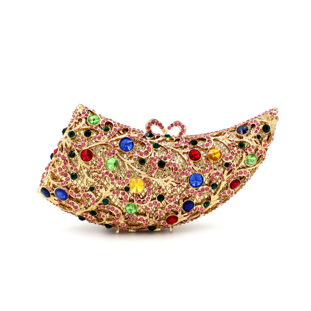 689f8298e US $128.0 |Oxhorn shaped Crystal Clutch Evening Bags Multi Color Silver  Clutches Purse for Women Fashionable Beaded Clutch Handbag Online-in  Evening ...