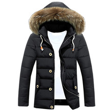 Chaqueta Hombre Jackets Male Clothes Fashion New Plus Coats Warm Winter Mens Casual Fur Collar Hooded Hat Detachable Outwear