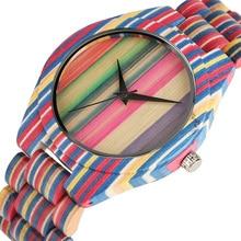 Топ моды древесины смотреть Для мужчин уникальные красочные древесины бамбука женское платье Смотреть Популярные Роскошные полный деревянный Hour Clock подарки для пары