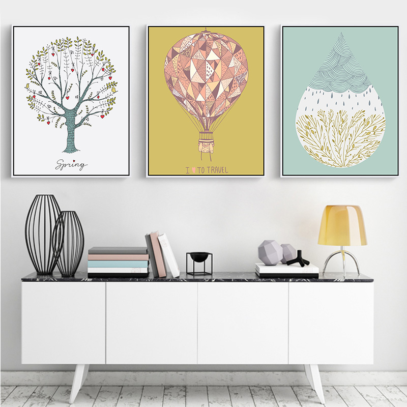 Geometry Canvas Oil Painting Fire Balloon Paint Tree Photo Wall Decoration Home Decor Travelling Prints No