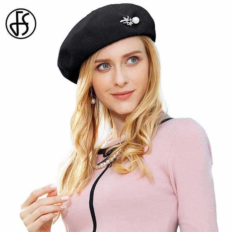 ... FS Elegant Pink Wool Beret Hat For Women Winter Warm Caps French Artist  Felt Hats Beanie ... 19977b1feff