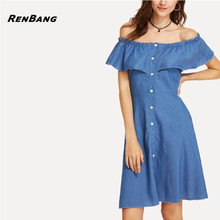 29ce81f829 2018 Summer Sexy Off Shoulder Jeans Denim Dress Women Ruffles Slash Neck  Button Party Dresses Casual