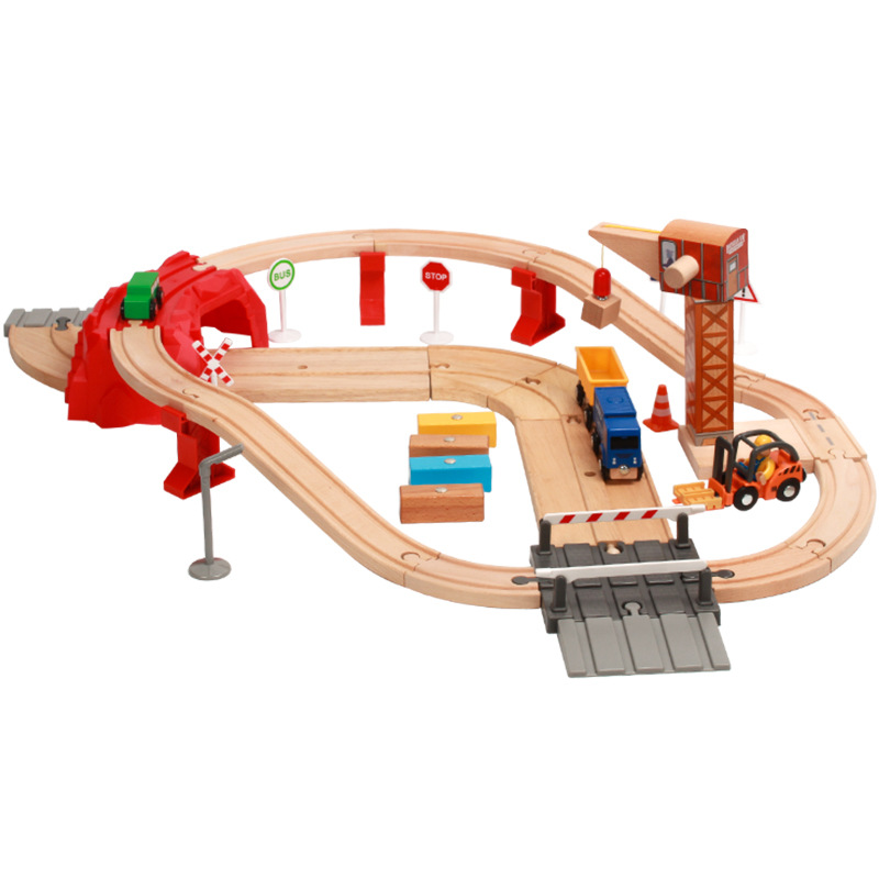 Wooden Toys For Kids Model Cars Wooden Car Puzzle Building Slot Track Rail Transit Train Railway