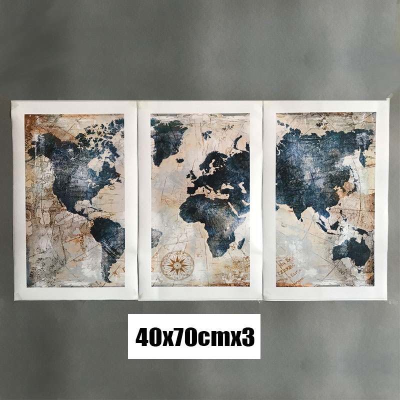 HTB1K2aFX26TBKNjSZJiq6zKVFXaV 3Panel Watercolor World Map Modular Painting Posters and Prints on Canvas Scandinavian Cuadros Wall Art Picture For Living Room