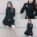 Japanese Fashion Dark Maiden Dress Embroidery Heart Hangdage Women Dresses Spring Korea Ulzzang Sexy Slim Black Femme Dress
