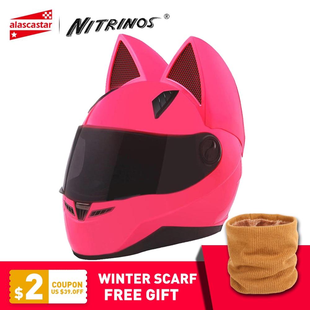 NITRINOS Motorhelm Dames Moto Helm Moto Oorhelm Persoonlijkheid Volledig Gezicht Motorhelm 4 Kleuren Roze Geel Zwart Wit