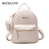 HuckLuto 2019 New Limited Time Discount Korean Fashion Luxury Letters Black Teenager Mini Backpack Set Leather Women's Backpack