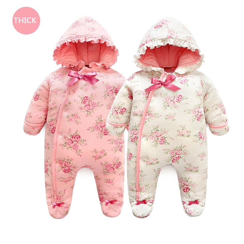 Baby Girl Thicken Hooded Jumpsuit 2018 New Winter Warm Rompe Overall Floral Thick Sleeping Bag Infant Outfit Clothes Born 3M 6m