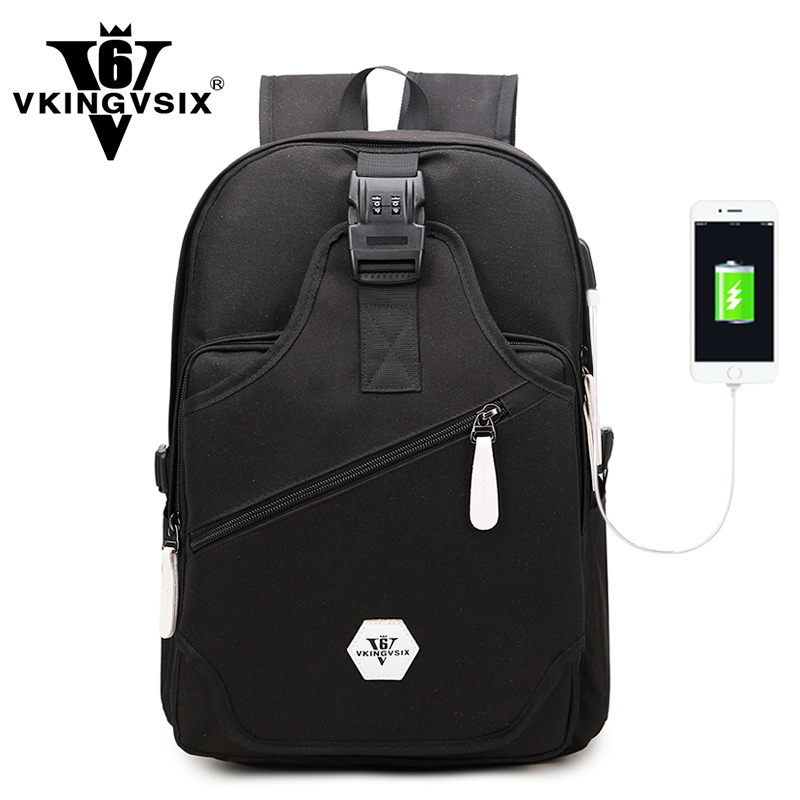 VKINGVSIX Waterproof Secure anti theft Travel backpack usb college School bags for girls boy men