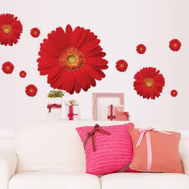 Цветы ромашки съемный Водонепроницаемый DIY настенные Наклейки на стену росписи для Спал ...