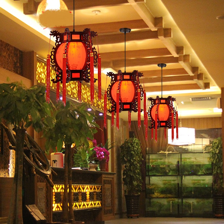 Classical Wooden Red Fuzi Restaurant Lantern pendant light Chinese Antique Wooden Court Lamps Red