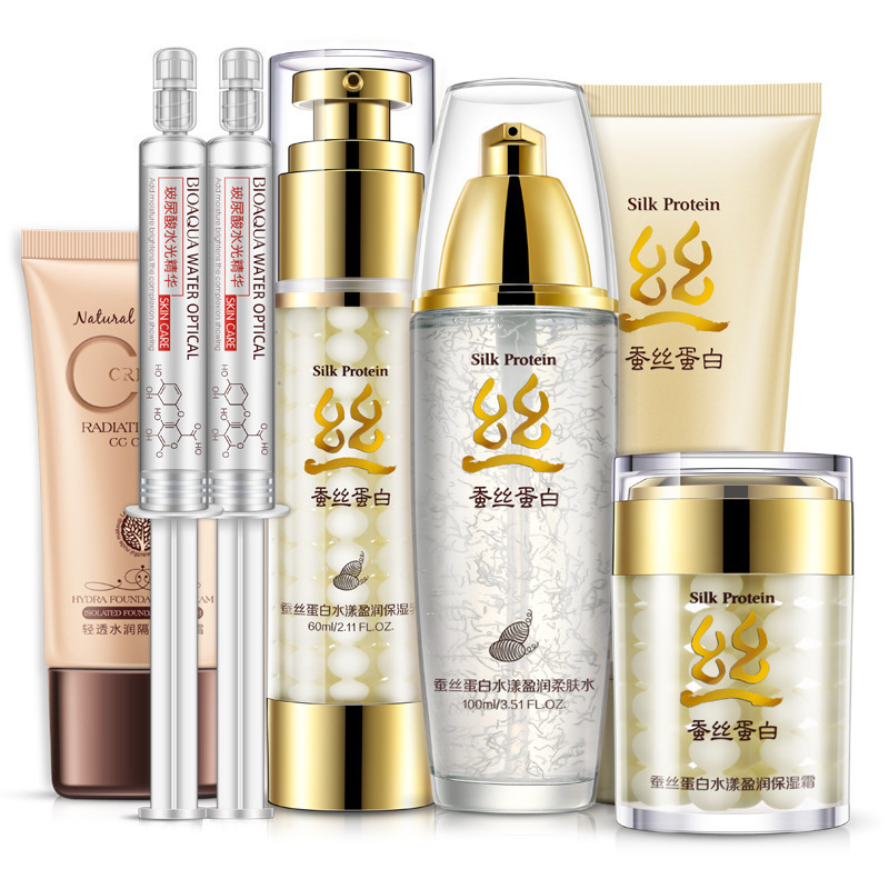 Silk Protein Moisturizing & Nourishing Set Skin Care Anti-aging Cleanser, Toner, Water Essence, Lotion, Cream, CC Cream 4pcs set skin care set shrink pores moisturizing anti aging anti wrinkle eye cream lotion toner cleanser whitening face cream