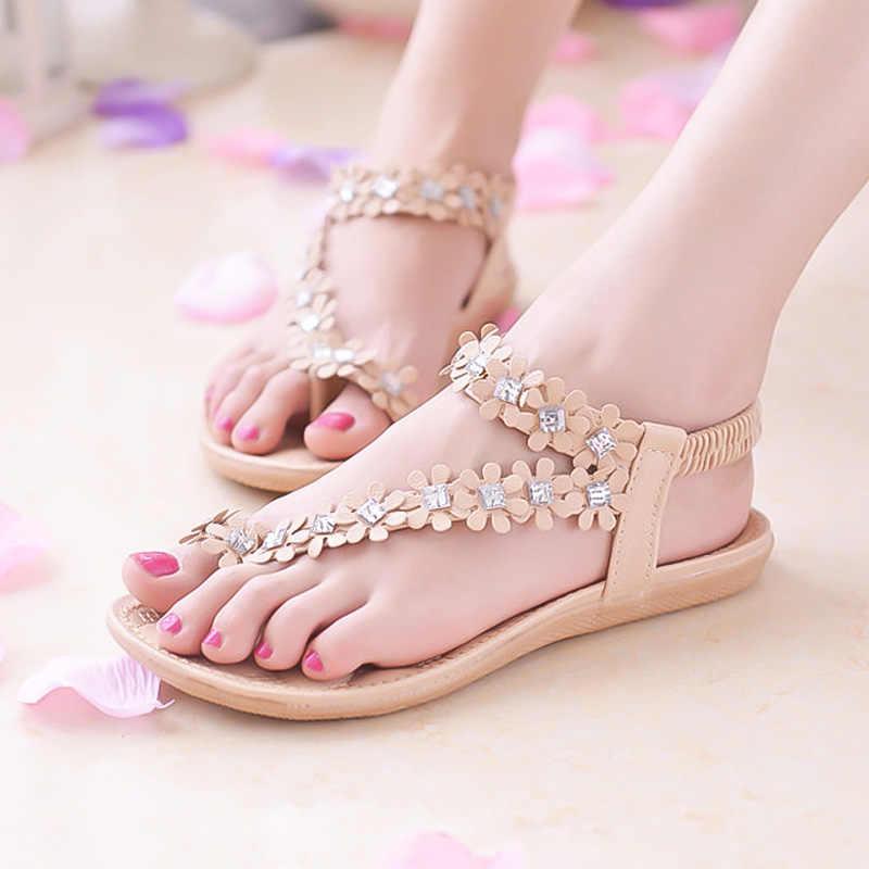 d00eafc58167 ... Bohemian Flower Flip Flops Women Sandals 2018 Summer Flat Shoes Woman  Solid Casual Ladies Sandals Fashion ...