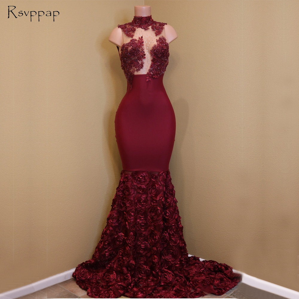 Long Gorgeous   Prom     Dresses   2018 Sheer Nude Top Lace Mermaid African Flowers Burgundy Party   Prom     Dress   Cheap
