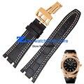 Подлинный кожаный браслет Спортивные часы Черный ремешок для часов с белый прошитой 28 мм Мужчины высокого качества Часы аксессуары