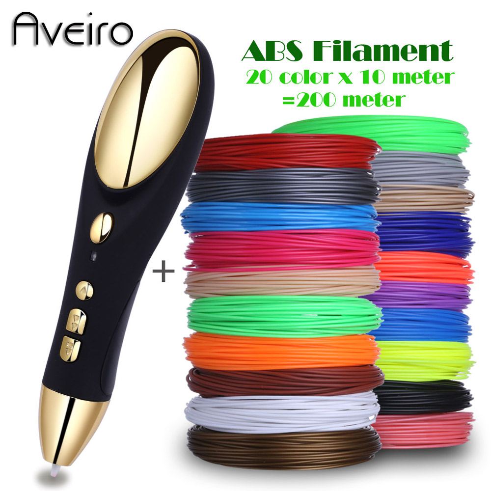 Aveiro 3D Printing Pens 12V 3D Pen Pencil 3 D Drawing Pen with 100/200M ABS Filament For Kids Child Education Tools Hobbies Toys