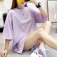 Tees Women T Shirt Print Letter T-shirt Casual  Short Sleeve Cotton Tops 2019 Spring Summer letter square print t shirt