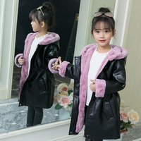 2018 New Girls Winter Thick Warm Fur PU Coat Kids School Outdoor Leather Casual Jacket Kids Outerwear Fashion Winter Long Coat