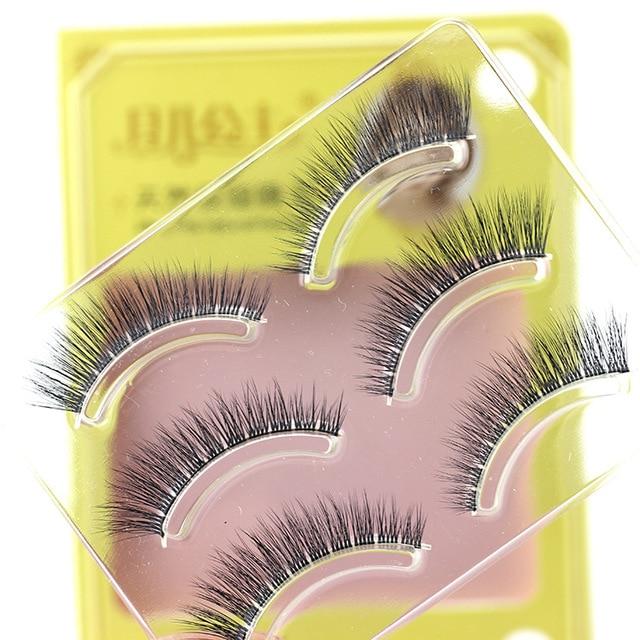 9527d3582d5 3 Pair/Set 3D Cross Black Thick False Eyelashes Eye Lashes Extension Makeup  Super Natural Long Fake Eyelashes