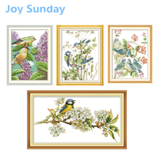Joy Sunday Counted Cross Stitch Animals Little Birds 11CT 14CT DMC Kits Embroidery Needlework Sets Wall Home Decor