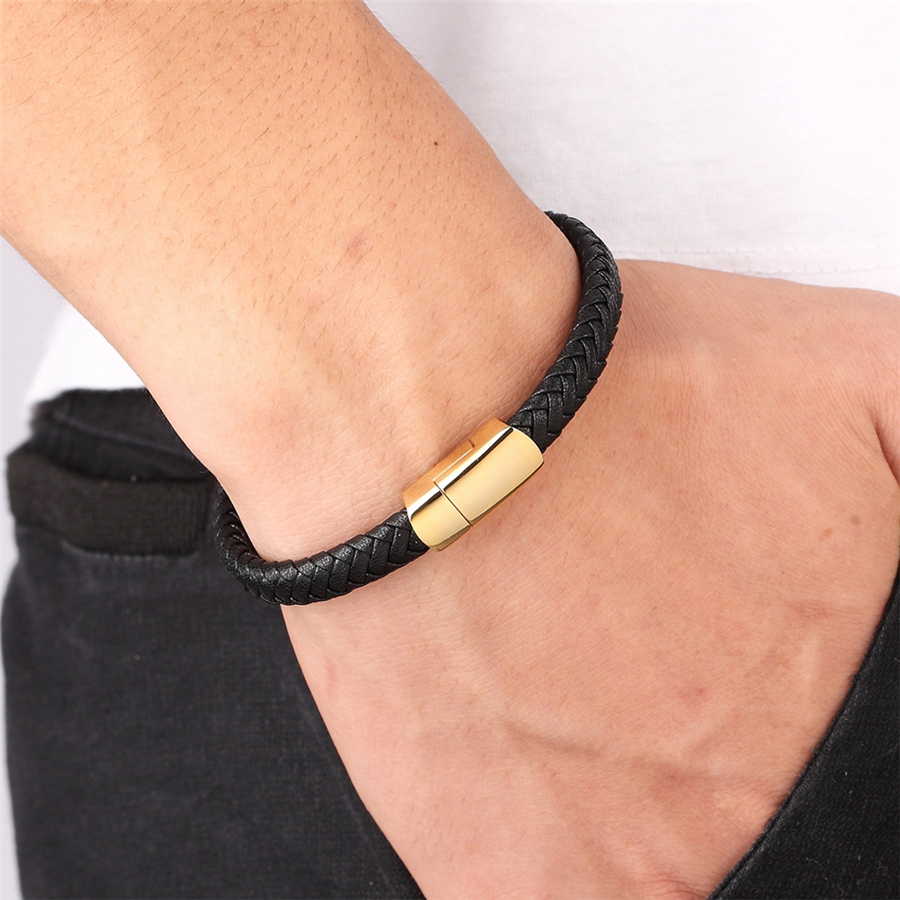 XQNI Simple Design Geometric Veins Genuine Leather Bracelet Accessories Gold/Steel Color New Classic Boys Gift Hand Jewelry