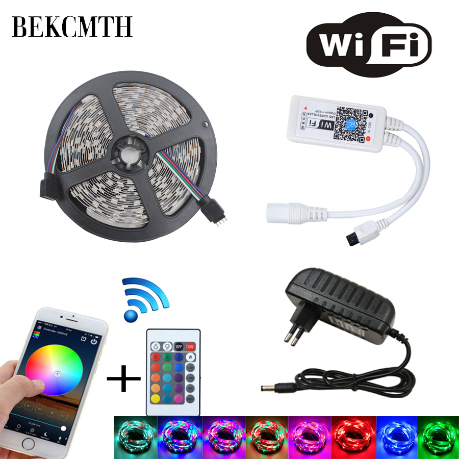 BEKCMTH Led Strip Light 2835 SMD RGB Tape 5M 10M 15M 20M DC12V Flexible RGB LED Stripe Ribbon Diode + Wifi Controller+ Adapter