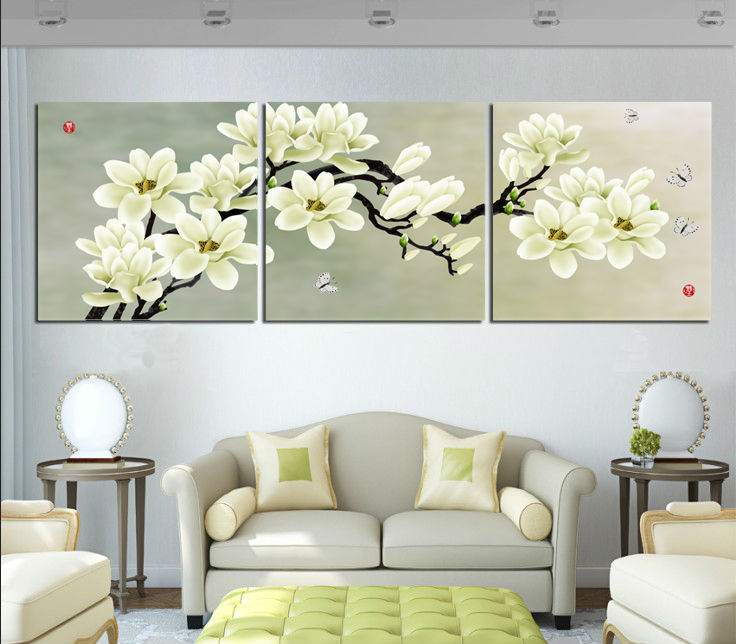 Free Shipping 3 Panel Magnolia Flower Painting Printed Painting Picture Home Decor Canvas Art For Living