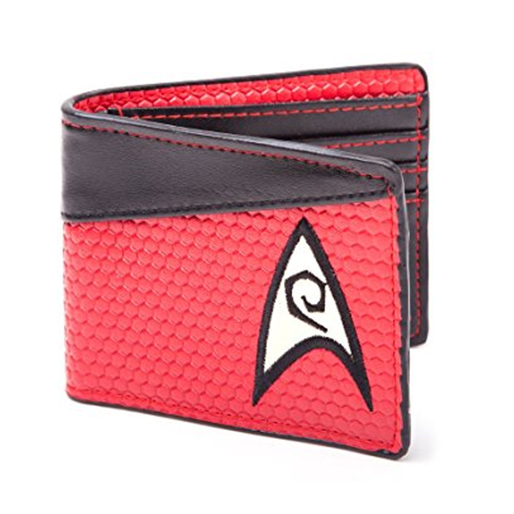Star Trek double folding wallet short style with label color blue and yellow and red wallet for young man's wallet майка классическая printio античная красота