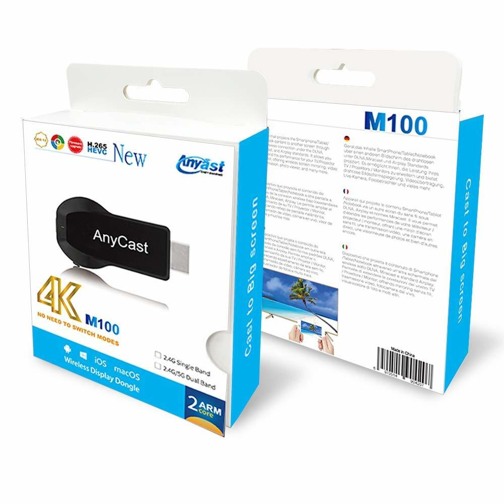 New Cool AnyCast M100 HDMI WiFi Display Tv Dongle Dual Core H.265 Decorder 4K HD Output Tv Stick No Need Modes SwitchingNew Cool AnyCast M100 HDMI WiFi Display Tv Dongle Dual Core H.265 Decorder 4K HD Output Tv Stick No Need Modes Switching