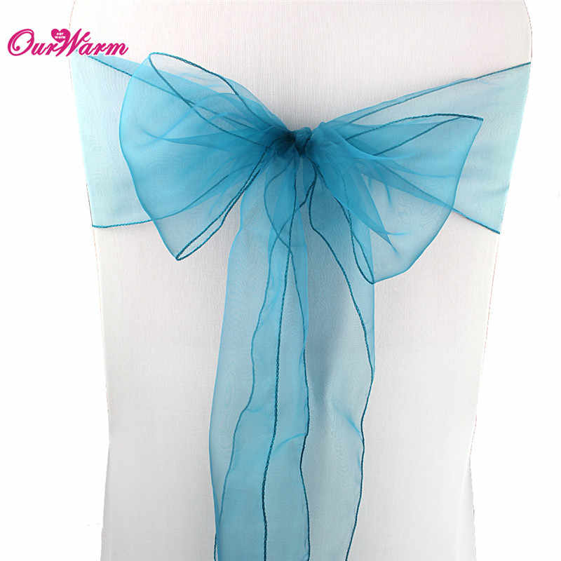 Cheap Organza Chair Sashes Bow Cover Wedding Chair Sashes New Year Christmas Party Banquet Chairs Decorations Home Textiles